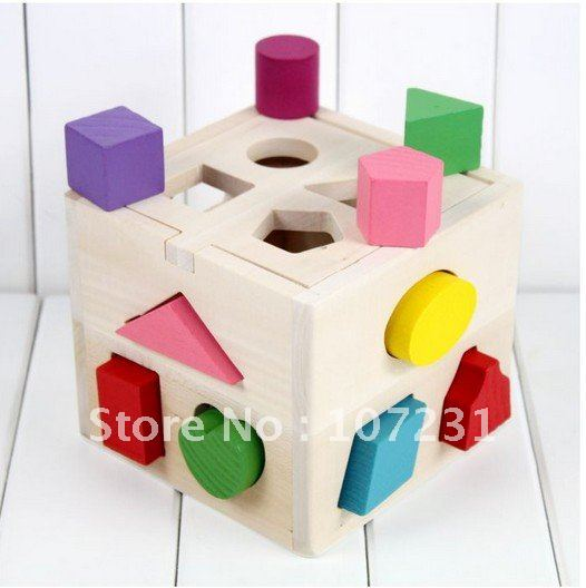 Hot NEW Wooden Knob Puzzle Cube Shape Sorter Childrens Educational Toy(China (Mainland))