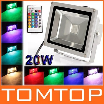 20W RGB Color Outdoor LED Spotlight 6 Modes RGB LED Flood Light Lamp Waterproof + Remote Control Free Shipping