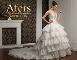 Afers NO.YJ5218-1 layer train back expensive Wedding Dress(China (Mainland))