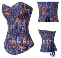 S~XXL 2 colors Free Shipping Push Up Corset floral print Strapless gothic women slim shaper Blue Black Free shipping QM5804