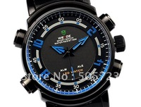 Cool ! Fashion Black Mens Stainless Blue Analog LED Dual Display Sports Digital Military Watch