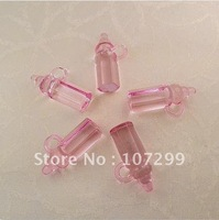 Hot Sale-100pcs Mini Acrylic Clear Pink Baby Bottles Baby Shower Favors~Cute Charms-New Arrivals