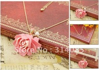 <Attention!Free shipping for Min.order $15,mix model> Cool Best-seller Fashion Womens Pearl Pink Flower Pendant Necklaces R067