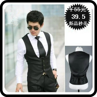 Slim vest spring and summer casual slim waist male suit vest sleeveless waistcoat men's vest male(China (Mainland))