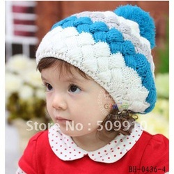 Baby girls winter Knitted Hat children Candy Beret Hat striped infant beanies baby hat Christmas cap 10pcs/lot Free shipping(China (Mainland))