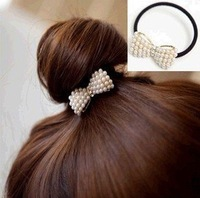 Min.order is $15 (mix order) Fashion pearl bowknot rubber band Hair Band Ring Rope Headwear Coiffure AQ1340