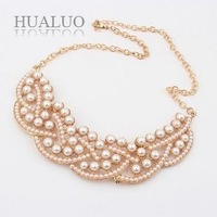 Newest Fashion beads Necklace Hot Wholesale Korea fashion Simulated-pearl Collar Necklace false colla N342