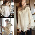 2012 newest free shipping large cape cloak woman coat plus size clothing loose rabbit fur with a hood batwing sleeve sweater