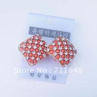 Free shipping orange square earrings
