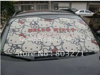 Free shipping-Car accessory, Auto Hello Kitty  aluminium foi Car Sun shade,front window sunshade