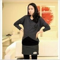 Fashion faux two piece long-sleeve maternity clothing nursing loading milk clothing 0808