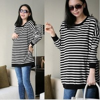 12 summer maternity clothing outerwear unique back button stripe top maternity sweatshirt 0069