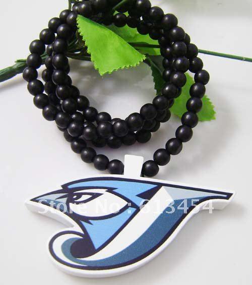 High Quality Hip-Hop 10Pcs/Lot Blue Jays Pendants Wood Rosary Bead Good Wood Necklaces(China (Mainland))