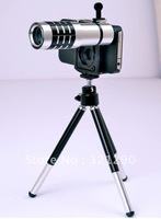 Aluminum alloy 10X Zoom Optical Lens Phone Telescope Camera Lens with Tripod for iPhone Smart Mobile Phone, Free Shipping