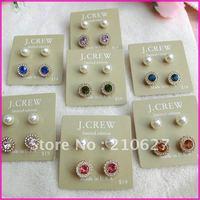 Aliexpress New arrival Min.order is $15 Fashion Earrings Women's flower round Rhinestone Ear studs 4pcs/set Original Box
