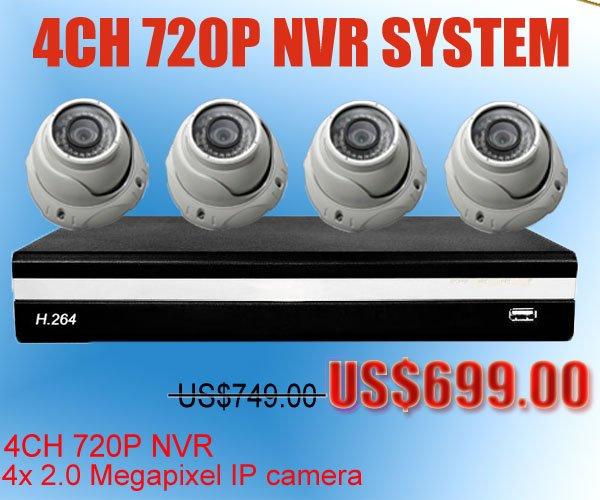 4pcs Dome 2 Megapixel IP camera +1pcs 720P Linux 4CH NVR Network Video Recorder HD IP camera Security System(China (Mainland))