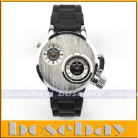 Promotion 1pcs  Fashion Dual Cores Men Silver S/Steel Dial Black Silicone Belt Military Watch freeshipping