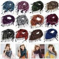 Wholesale price New Hot Sale Korean fashion woman wholesale knit crochet scarf,Multi-purpose grid scarf 6pcs/lot free shipping