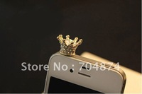 Silver & Gold diamond Crown Anti-dust Plug Dustproof Plug Ear Cap , min order 15 usd,you can choose different design