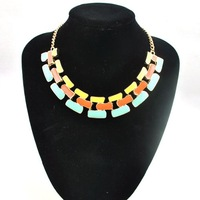 1 pcs/lot(Free shipping)New arrival fashion collars, new design with jelly resins Choker necklace, big stone necklace,6 colors