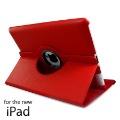 Для нового iPad 360 Вращающихся Красный Кожаный чехол Smart Крышка с Подставкой. Бесплатная Доставка
