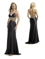 Free Shipping 2014 Hot Sale Sexy V-neck Spaghetti Strap Evening Prom party Taffeta Evening /Prom Dresses with Sequined