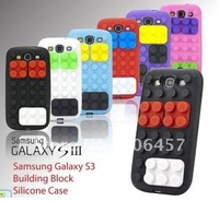 Wholesale Fashion Building Block Style Soft Silicone Case Cover For Samsung Galaxy S3 SIII i9300;Free shipping 50pcs/lot