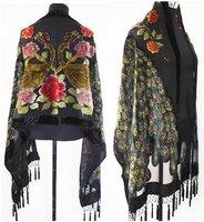 Hot sale Black    Fashion silk velvet  Women's Shawl  Scarf scarves