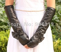 Women Long Fashion Genuine Lamb Leather Opera Gloves Butterfly and Rivets M L