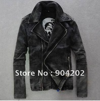 Free shipping!!! NEW arrive 2012 Fashion Men's high-grade Pure cotton washed torn Motorcycle Jacket, Locomotive jean Coat .