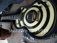 wholesale High quality G-USA Les Custom Zakk Wylde Electric guitar yellow / BLACK in stock Free shipping with case