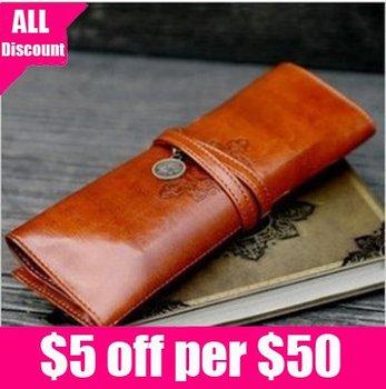 Free shipping Retro coffee PU make up pen bag  twilight pencilcase cosmetic bag cases 1pcs/lot retail