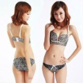 Free shipping cotton/polyester leopard style Cute Design sexy fancy bra panty set wholesale&retail 863