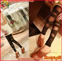 Free shipping+New Sexy high quality Women's Leggings Cross Straps Mesh Pantyhose legging HOT HOT HOT