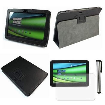 "3IN1 For Toshiba Excite AT200 X10 10.1"" Tablet Leather Stand Case Cover+Film+Pen"