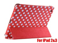 50pcs/lot ,Polka Dot Case for iPad 2&for the new iPad 3, foldable/can stand, Free Shipping