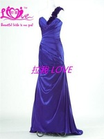 Exquisite A-line One-shoulder High Quality Elegant Custom Maden Taffeta Off-Shoulder  Free Shipping Bridemaid  Dress& Prom Dress