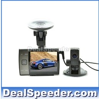 Free Shipping 720P HD Two Cameras Car DVR with 3.5inch LCD Screen + 4M length Extra Camera,Motion Detection