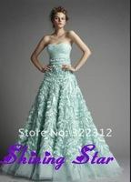 Design! Zuhair Murad Dress 2013 Light Green Appliques Handmade Fashion Floor Length elie saab Prom Dress Evening Gowns