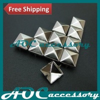 Punk DIY Metal Pyramid Stud with Prongs 10mm in Silver for Leather Belts/Free Shipping