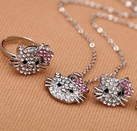 (mix order),Min order is $15,Fashion lovely Kitty Bow Jewelry Sets,Kitty Necklace/Rings/Earrings, Best Selling free shipping!