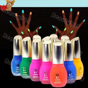 New 12 cores 15 ml Neon fluorescente Luminous Nail Polish Glow in prego escuro verniz esmalte 5573