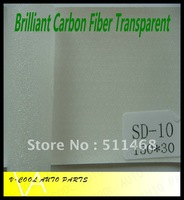 Brilliant  Transparent 1.52X30M High Quality with Air free bubbles auto changing film carbon fiber vinyl,car fiber sticker