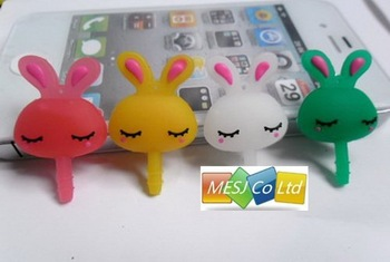 Anti Dust Plug Stopper Set earphone jack silicone lovely design dustproof plug cover For 3.5mm iPhone iPad blackberry HTC 100pcs