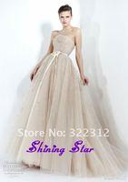2013 Zuhair Murad Dress Champagne Ball Gown Strapless Beads Elegant Floor Length Design Elie Saab Prom Dress Evening Gown