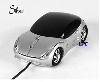3D Car Shape Optical USB Mouse  for PC Laptop Computer silver+Free shipping