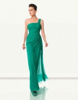 Free Shipping 2012 Hot Sale Elegant  One-Shoulder Floor-Length Evening Prom party Chiffon Evening /Prom Dresses