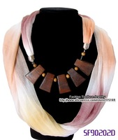 Factory wholesale newest colored scarf, pendant scarf necklace,jewelry scarf,Eco-friendly, 6colors+12pcs/pack+Free shipping..