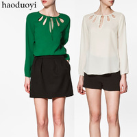 Haoduoyi chest fan-shaped cutout thick chiffon solid color long-sleeve women's shirt 3 6 full