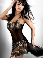 XL XXL XXXL Plus Size Women Black Lace Print Sexy Cute Lingerie Corset Pajamas Underwear Skirts Free Shipping YH6206